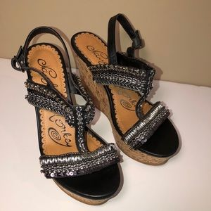 Naughty Monkey Beaded Cork Wedges Shoes Heels